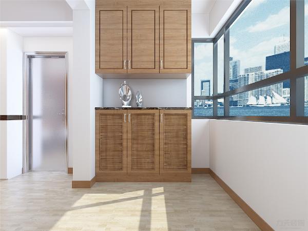 对面是一组柜子,然后是过廊,过廊很简单只使用平顶加上一个柜子和一幅画,最后是客厅,沙发背景墙我们用的是地板上墙,沙发是3+2的,电视背景墙用的是柜体镶嵌式的。
