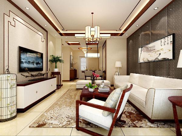 客厅电视背景墙采用了花线铺贴,内铺浅色系壁纸,浓浓的中古风味;