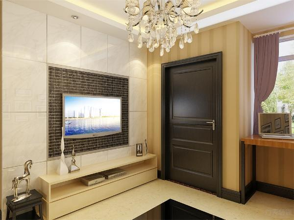 客厅采用回字形吊顶,电视和沙发背景墙上装上筒灯,中间安装一盏富有现代气息的吊顶,稳重而且温馨。