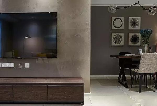 悬挂的电视机节省空间,使空间质感更加轻盈。