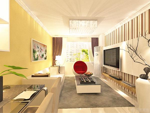 客厅没有吊顶,仅圈一圈石膏角线,凸显现代简约的感觉。个性的吸顶灯美丽大方。给人一种即使没有吊顶也不遗憾的感觉。沙发背景墙是客户绣的十字绣。