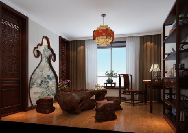 现代中式风格更多地利用了后现代手法,墙上挂一幅中国山水画等传统的书房里自然少不了书柜、书案以及文房四宝。传统中透着现代,现代中揉着古典。