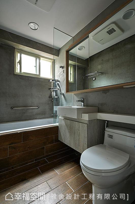 水泥粉光漆与无接缝长条型木纹砖,让内外的设计元素呼应。