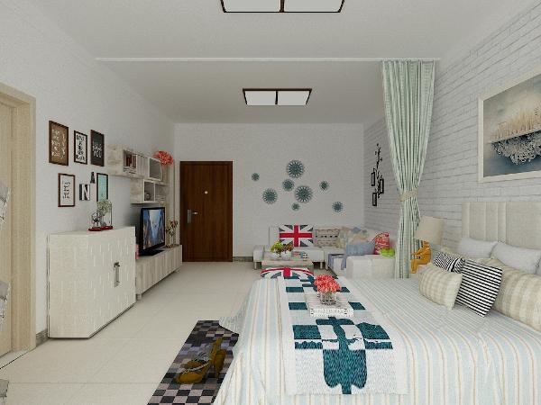 这个图里面吊顶改成双层石膏板带,加了一个轨道窗帘,将客厅和卧室巧妙的分开了,增加了私密性