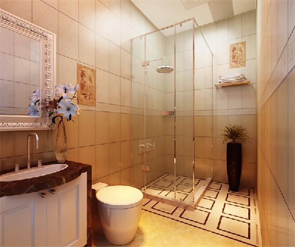 卫生间也比较大,因此可以考虑做一个淋浴屏风,既有很强的实用性,又具有很好的装饰效果。