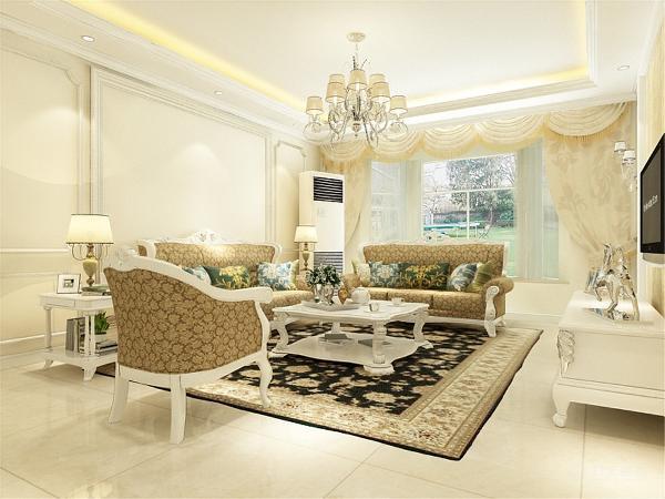 本次的设计风格是欧式风格。客厅是回字形吊顶中间加上了圈边底下也加了圈边,