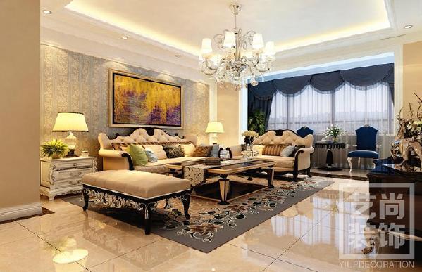 怡丰森林湖四室两厅装修效果图 153平方四室两厅简欧风格样板间装修案例