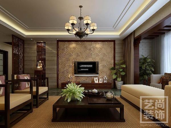 泰宏建业国际城四室两厅装修效果图 173平方四室两厅新中式样板间装修案例