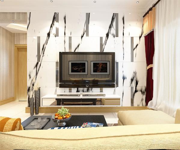 客厅设计采用简约明朗的线条,将空间进行了合理的分隔。