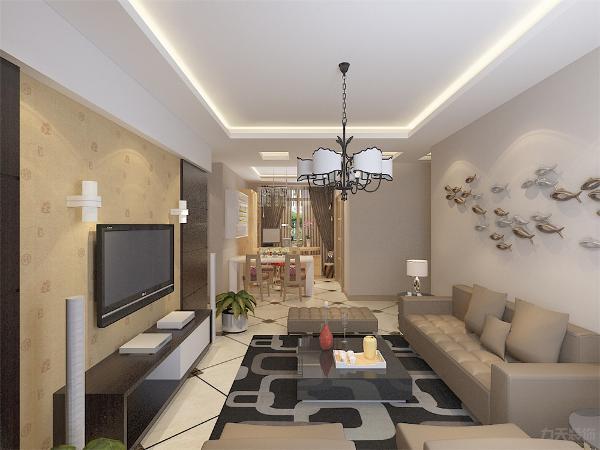 客厅皮质沙发颜色家具沉稳简洁,沙发背景墙小鱼活跃空间增加空间的灵动性。