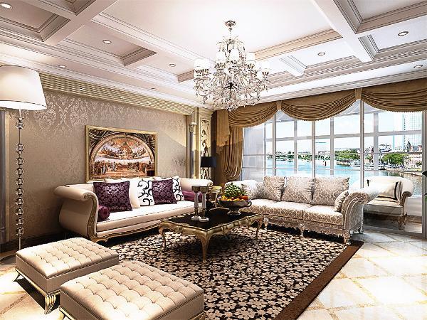欧式的豪华带幔的窗帘显示出豪华的大气,沙发背景墙则采用大理石的铺贴以及装修画相互配合,电视背景墙的设计采用大理石的配合壁纸,整套欧式家具的选择既大气又时尚。