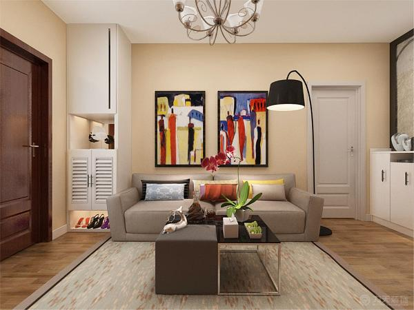 电视背景墙采用了贴壁纸,整体的墙面是米黄色的,所以电视背景墙贴的是棕色的横条纹壁纸;