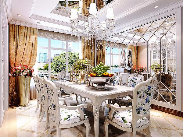 厨房的设计与餐厅相互配合,一扇推拉门将其隔开。休闲区麻将桌的设计采用木质的地板以及竖条纹的壁纸进行装饰,回型吊顶加吊灯进行装饰