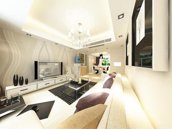 接下来看客厅,回字形吊顶加灯带装饰,中间是水晶吊灯。电视墙采用弧线形壁纸,L型沙发配以简单的装饰画。