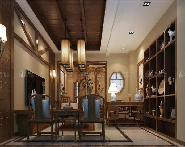 华贸东滩花园别墅装修新中式风格设计方案展示,上海腾龙别墅设计师孙明安作品