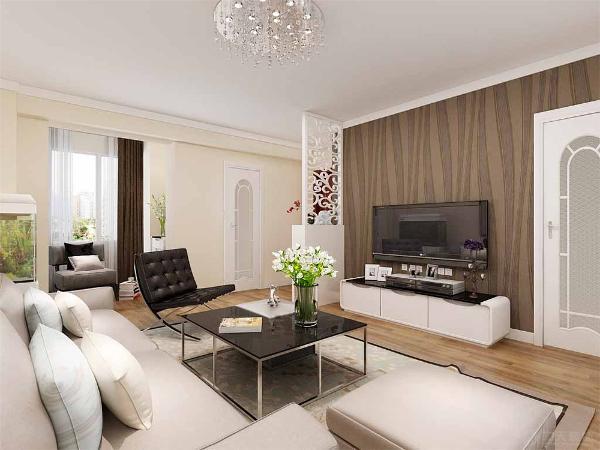 沙发墙简单的挂画,休闲区柜子下面做储物用,上面的躺板放装饰品和书籍,中间为一张休闲椅。