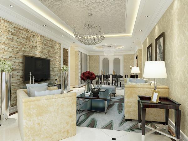 电视背景墙采用了仿石材的文化石,来表现墙面的机理,再搭配卧室风格的壁纸,暖黄色的沙发,米黄色大理石地砖。