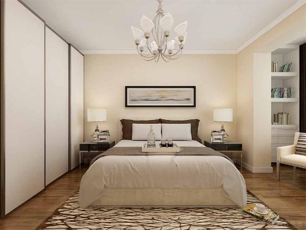 卧室方面,主卧跟客厅一样墙面刷浅色乳胶漆,家具白色,所以在床品的选择上用的是偏褐色系的。阳台上同样是储物柜加休闲椅的布局。