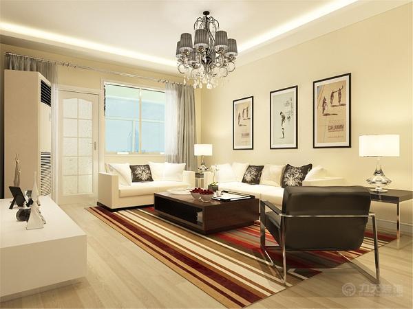 沙发、电视柜选择的是浅色的,所以茶几选择了深色的。沙发的背景墙上没做造型只是简单的挂了几幅画。