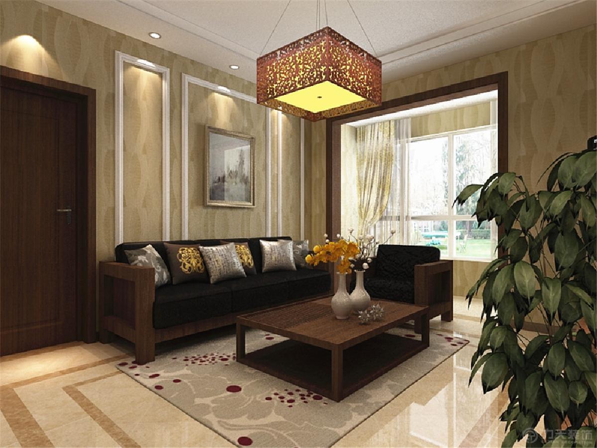 首頁 裝修效果圖 沙發背景墻用石膏線做了造型,整個空間墻面貼黃色系