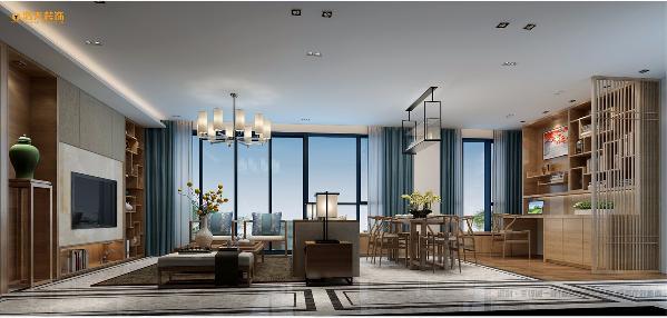 客餐厅 设计师在空间格局的规划上最大的改变在于将书房、餐厅、客厅的空间融为一体,通过立面造型的呼应关系使整个空间显得大气而不乏味。简约的天花造型,复古木制家具搭配着石材地面透着别样的美感。