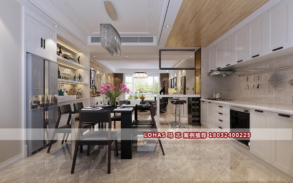 开放式厨房它还能够给人一种清新、自然的美感在里面,它的这种设计打破了传统的厨房设计,做到了时尚与使用的结合。