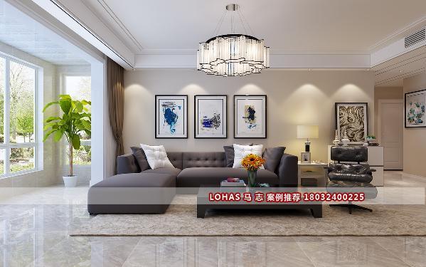 沙发背景墙:纯白色的墙漆带来整洁清爽的视觉效果,几幅简单的装饰画的点缀给安静的墙体带来了一丝俏皮。深灰色的布艺沙发给人带来了沉稳舒适的感觉,又使整个空间看起来不那么飘渺