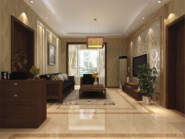 但整体的设计使整个空间更加时尚、更富现代感。客厅背景墙运用了丰富的造型,运用石材圈边,内嵌大马士革反光壁纸