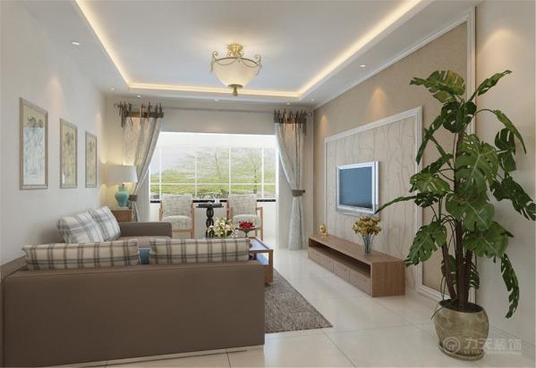 沙发选用了深咖色的布纹,提升空间温馨色彩,客厅电视背景墙采用AB板模式,中间运用混油圈线做的造型,美观大方。