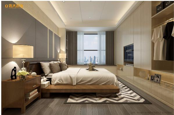 深灰和浅灰色的木板铺就的地面,条纹地毯给整个空间添了一抹亮色。床头背景墙分割成深灰色的长方形,时尚简约。为了增加整个空间的储物面积,墙面既是美观的背景墙又是实用的储物柜。