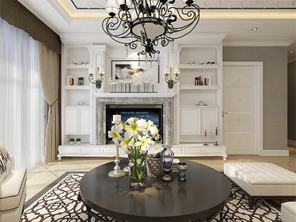 电视背景墙拥有强大的储物功能,白色的主色调使整个空间典雅十足。