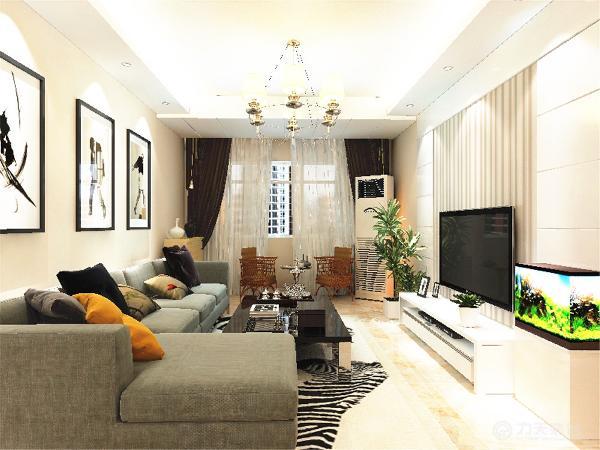 客厅设计采用简约明朗的线条,将空间进行了合理的分隔。整体颜色以简洁的淡绿色为背景,只有茶几几个大件是深色的,在客厅里做 一个色彩对比,现出现代简约的格调。深色色调窗帘与空间的白色相呼应