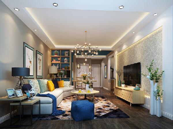 门厅左手边是一个上下结构的大衣柜和鞋柜,用来更换出门外衣及鞋等,紧接着进入客厅,地面深木色地板通铺,大量的木地板及实木家具,使得家庭氛围温馨自然。让整体空间不在显得单调。