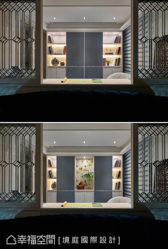 书房柜面采用拉门式的设计,是唯美的工艺结合,融入了机能与美感的搭配。
