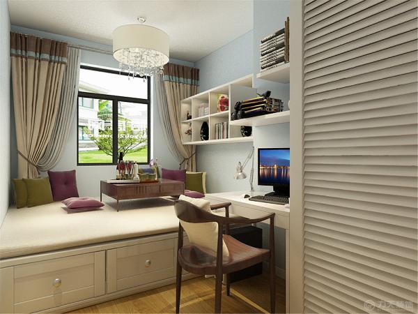 主卧没什么造型,窗边做了两个衣柜,衣柜中间为飘窗,墙体使用藕荷色乳胶漆。