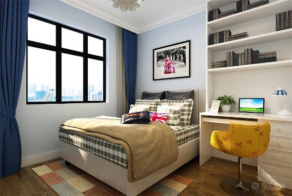沙发选用褐色的布艺沙发,卧室方面客户要求做一个次卧儿童房加书房,墙面选用淡蓝色的乳胶漆,房间右侧是一个组合书桌书柜。整体暖色调。搭配颜色使空间更加适宜居住。
