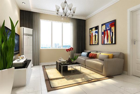 客厅方面在电视墙上有一个一字吊顶其他地方圈跌级双侧石膏线。