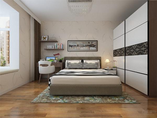 主卧是主人休息的区域,主卧的设计空间合理简洁,白色的床加上竖条纹的床品,以及衣柜的搭配,使空间十分的干净。墙面贴暖色系壁纸,奠定了整个空间的基调。次