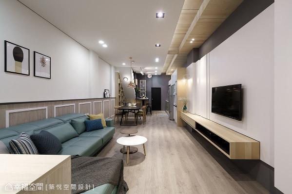 陈彦维设计师以开放式设计串联一楼公领域,将空间机能分置两旁,维持视觉的整齐性。