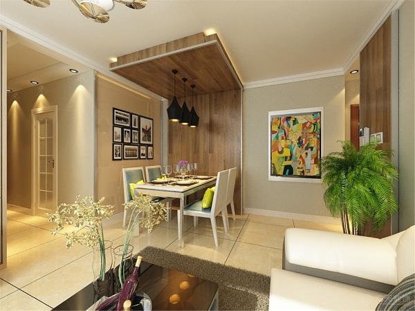 餐厅背景墙采用的墙爬顶的装饰手法,采用地板上墙上顶,因为餐厅背景墙比较长旁边用一幅色彩丰富的装饰画进行修饰