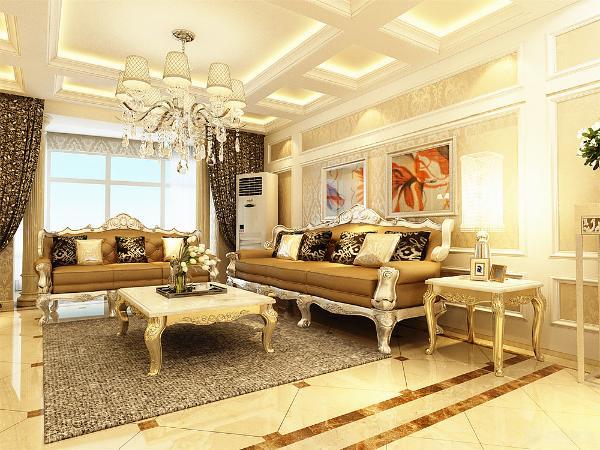 沙发的背景墙采用石膏线进行装饰以及简洁的欧式画进行配饰,电视背景墙则以石膏线以及壁灯进行装饰。金黄色的窗帘突出欧式的高贵。