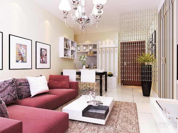 本案设计风格定义为现代简约风,整体空间使用了淡黄色的乳胶漆作为装饰,客厅背景墙使用了条纹手绘的方式,体现了现代风格时尚气息。