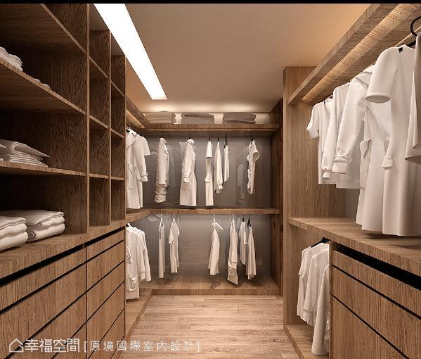 原境国际室内设计依循屋主的收纳量,规划一间独立更衣室,利落的层板表现,让收放更自如。 (此为3D合成示意图)