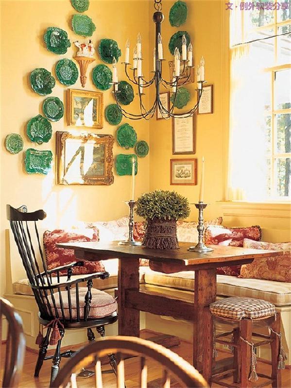 装饰瓷盘摇身一变,取自自然界的创意加上艺术加工,搭配家居设计层次摆放,具有百变面孔的盘子可以做各种不同风格的墙面装饰。瓷盘不仅可以让墙面活跃起来,还能显示主人特别的品位。