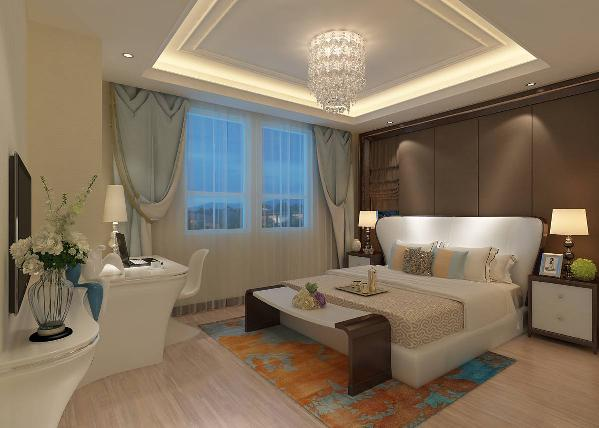 主卧室的设计,首先设计师使用了深咖色的卧室背景墙,并且在背景墙的右侧用一组咖色的窗帘,这个设计恰到好处的将整个墙面很好的融为一体。