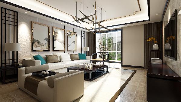 此户型设计风格为新中式风格,业主是年轻的小夫妻。整个客厅在设计上设置了独立的玄关,墙顶面以木色的线条做装饰。搭配简约时尚的吊顶。