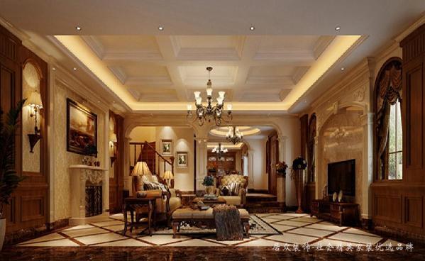 本案为美式风格,设计中注重空间格局比例,墙面造型的刻画,选择材料从颜色上的搭配,形态上的呼应,侧重壁炉与手工装饰,追求粗犷大气、天然随意,创造出独一无二的美学空间。