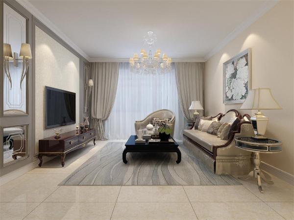 客厅没有做吊顶,只是做了一圈石膏线造型,客厅影视背景墙使用石膏板加上镜面做造型,再配上壁灯,沙发背景墙简单使用挂画做装饰。