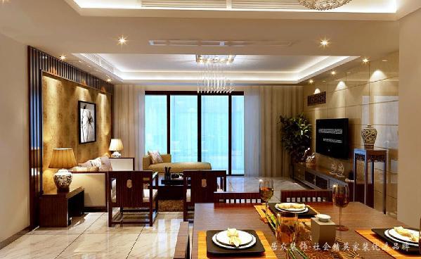 现代风格外形简洁、功能强,强调室内空间形态和物检的单一性、抽象性。沙发背景墙是一大特色,营造中式古典氛围。