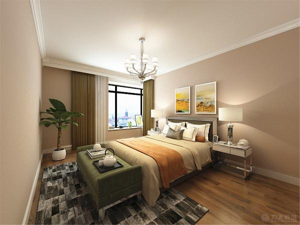 客卧顶面白色乳胶漆加一圈80石膏素线。墙面采用浅绿色色乳胶漆地面是偏黄的实木复合地板。